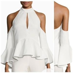 C/Meo Collective Peplum Cold Shoulder Top White